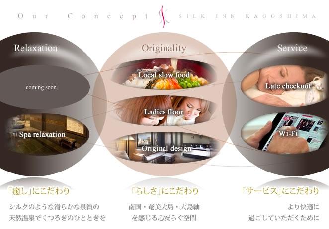 鹿児島 ホテル・シルクイン鹿児島のコンセプト『Relaxation』『Originality』『Service』
