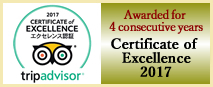 Trip Advisoar: Awarded for 4 consecutive years Certificate of Excellence 2017